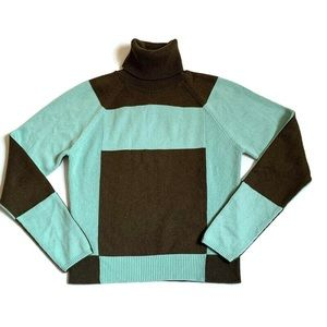 Silk cashmere color-block turtleneck sweater